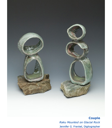 Couple Raku Mounted On Glacial Rock Sculpture