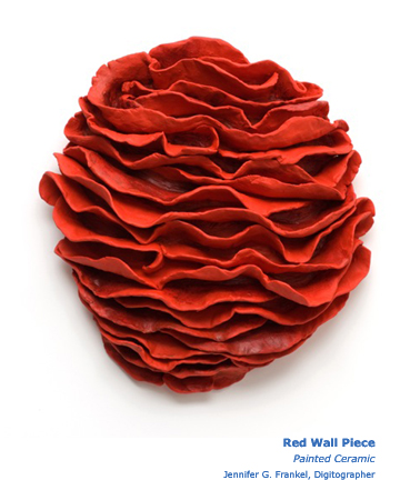 Red Wall Piece Painted Ceramic Sculpture