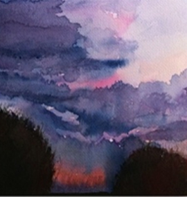 Watercolor Landscape of Trees and Sky in Buffalo